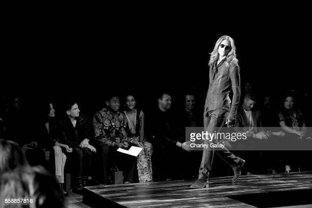 Michelle Marks Anthony Davolos Ben Harris and Mark Brashear at the John Varvatos Fashion Show at South Coast Plaza on October 7 2017 in Costa Mesa...