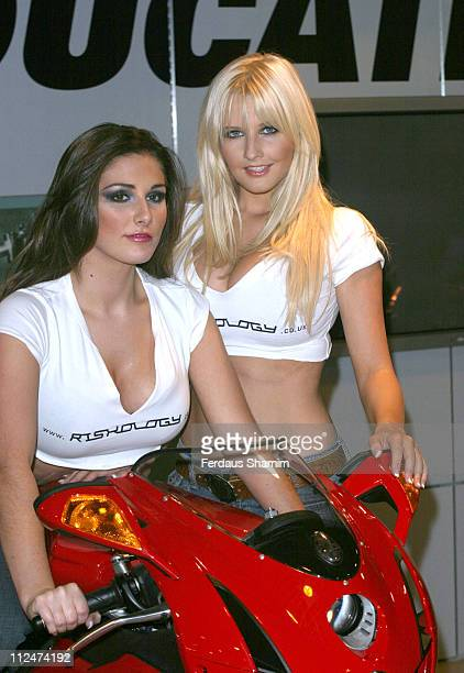 Michelle Marsh and Lucy Pinder during Riskology Launches The Thinking Man's Flutter Photocall at Ducati Shop Fulham Road in London Great Britain