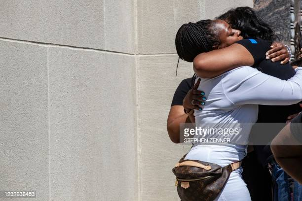 Michelle Martin, the attorney for Ma'Khia Bryant's family, comforts Paula Bryant, the mother of Ma'Khia Bryant, after speaking at a rally against...