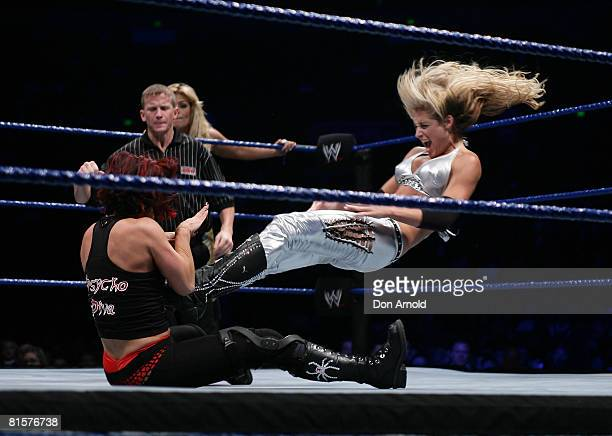 Michelle McCool takes on Victoria during the WWE Smackdown at Acer Arena June 15 2008 in Sydney Australia