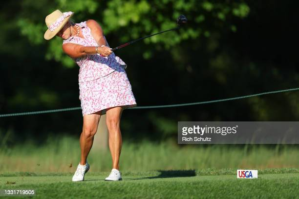 Michelle McGann of the United States hits her tee shot on the 13th hole during the second round of the U.S. Senior Women's Open Championship on July...