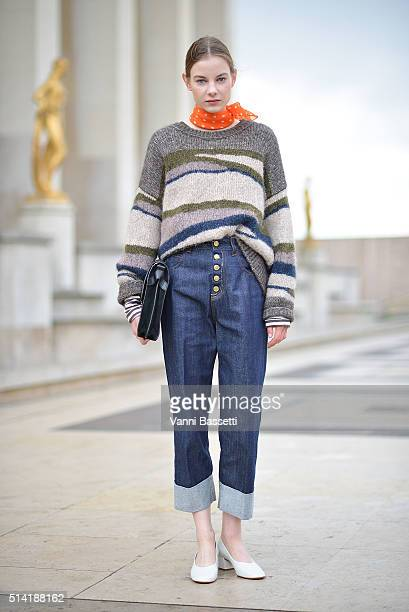 Michelle Meinert poses wearing Closed before the Sacai show at the Theatre National de Chaillot during Paris Fashion Week FW 16/17 on March 7 2016 in...