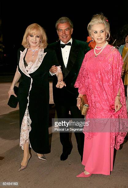Michelle Mercier and Mrs Forsius arrive at the Rose Ball 2005 at The Sporting Monte Carlo on March 19 2005 in Monte Carlo Monaco