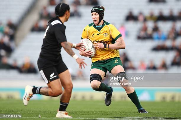 Michelle Milward of the Wallaroos charges forward during the International Test match between the New Zealand Black Ferns and the Australia Wallaroos...