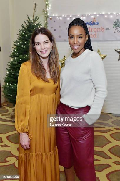 Michelle Monaghan and Kelly Rowland attend The Baby2Baby Holiday Party presented by Toys'R'Us at Montage Beverly Hills at Montage Beverly Hills on...