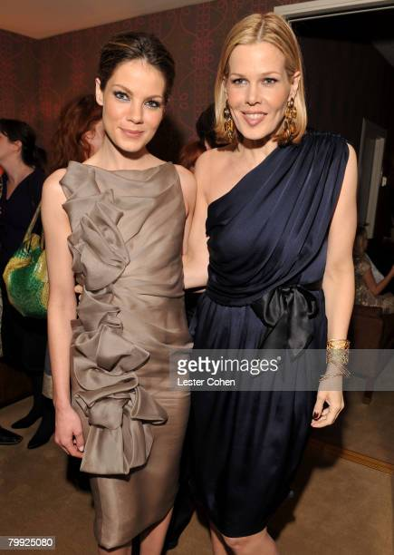 Michelle Monaghan and Mary Alice Stephenson attend the Kara Ross NY Oscar Collection Cocktail Party at the Sunset Tower Hotel on February 21 2008 in...