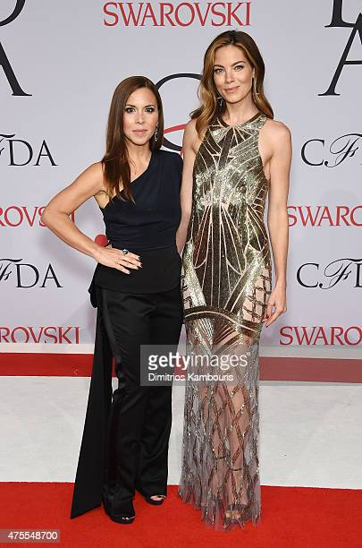 Michelle Monaghan and Monique Lhuillier attend the 2015 CFDA Fashion Awards at Alice Tully Hall at Lincoln Center on June 1 2015 in New York City