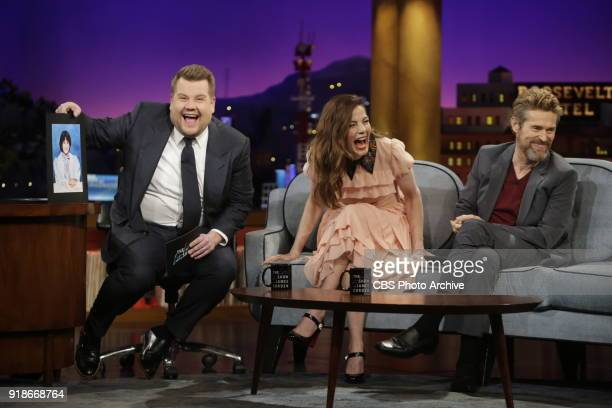 Michelle Monaghan and Willem Dafoe chat with James Corden during The Late Late Show with James Corden Tuesday February 6 2018 On The CBS Television...