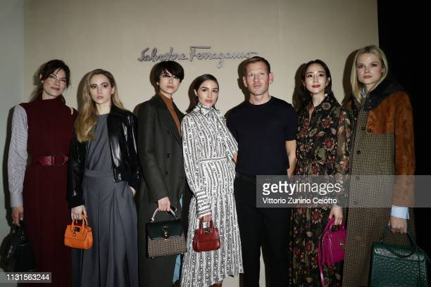 Michelle Monaghan Suki Waterhouse Hikari Mori Olivia Culpo Paul Andrew Ning Chang and Gabriella Wilde attend the Salvatore Ferragamo show during...