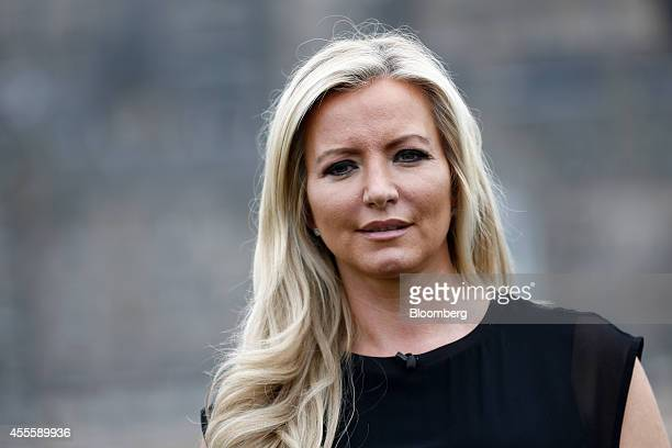 Michelle Mone chief executive officer of MJM International Ltd a Glasgowbased manufacturer of the Ultimo bra poses for a photograph following a...