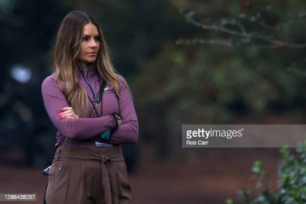 Michelle Money, girlfriend of Mike Weir of Canada , looks on during the final round of the Masters at Augusta National Golf Club on November 15, 2020...