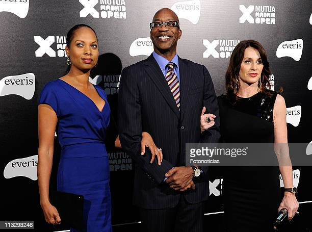 Michelle Moses Edwin Moses and Nadia Comaneci arrive to the Mutua Madrid Open 2011 gala dinner at the Palacio de Cibeles on April 30 2011 in Madrid...