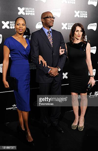 Michelle Moses Edwin Moses and Nadia Comaneci attend the Mutua Madrid Open 2011 gala dinner at the Palacio de Cibeles on April 30 2011 in Madrid Spain