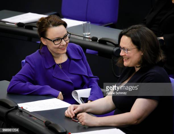 Michelle Muentefering SPD and Andrea Nahles SPD are pictured during a conversation at the Plenary Session of the Bundestag on July 04 2018 in Berlin...