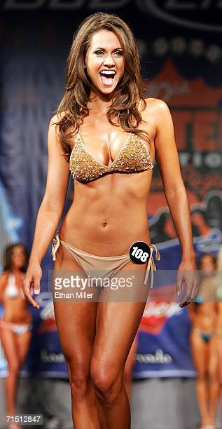 Michelle Nunes of Nevada competes in a preliminary preview of the 10th annual Hooters International Swimsuit Pageant at the Aladdin Casino Resort...