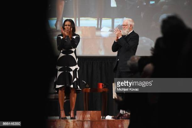 Michelle Obama and David Letterman speak onstage as The Streicker Center hosts a Special Evening with Former First Lady Michelle Obama at The...