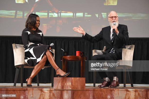 Michelle Obama and David Letterman speak onstage The Streicker Center hosts a Special Evening with Former First Lady Michelle Obama at The Streicker...