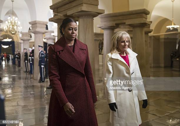 Michelle Obama and Dr Jill Biden arrive for Presidentelect Donald Trump's inauguration ceremony at the Capitol in Washington USA on January 20 2017