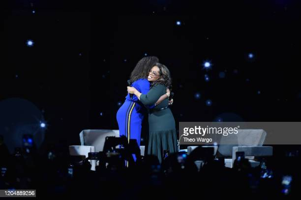Michelle Obama and Oprah Winfrey during Oprah's 2020 Vision: Your Life in Focus Tour presented by WW at Barclays Center on February 08, 2020 in New...