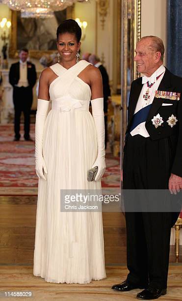 Michelle Obama and Prince Philip, Duke of Edinburgh pose in the Music Room of Buckingham Palace ahead of a State Banquet on May 24, 2011 in London,...