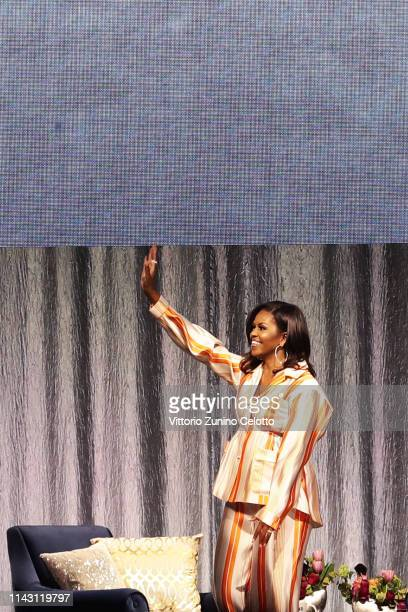 Michelle Obama attends 'An Intimate conversation with Michelle Obama' at Hotel Accor Arena Bercy on April 16, 2019 in Paris, France.