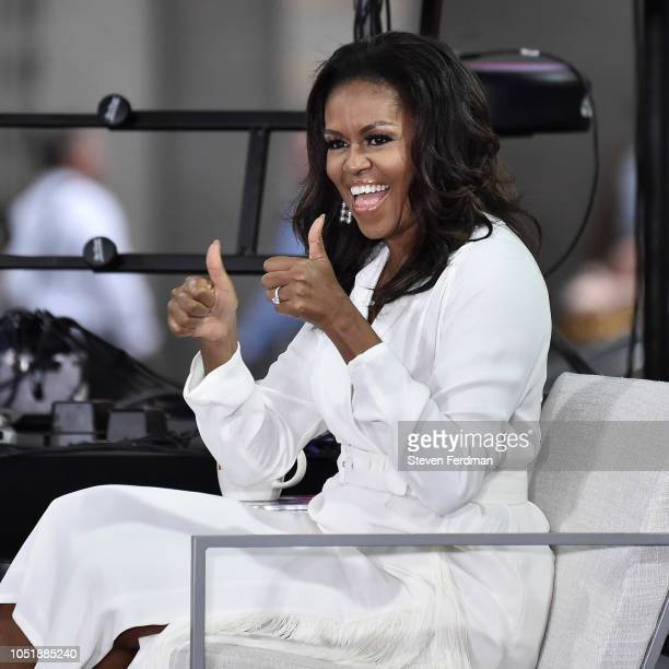 Michelle Obama attends NBC's Today Celebrates The International Day Of The Girl at Rockefeller Plaza on October 11 2018 in New York City