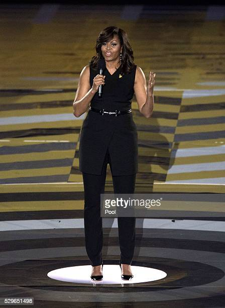 Michelle Obama during the Opening Ceremony of the Invictus Games Orlando 2016 at ESPN Wide World of Sports on May 8 2016 in Orlando Florida Prince...