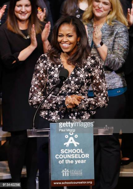 Michelle Obama former First Lady of the United States honors the 2018 School Counselor of Year at a special celebration at The Kennedy Center on...