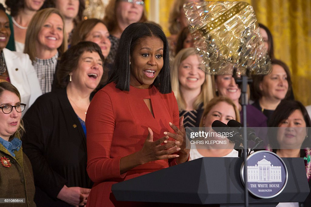 Michelle Obama gives her final remarks as US First Lady at the 2017 School Counselor of the Year event at the White House in Washington DC, January 5, 2017. / AFP / CHRIS
