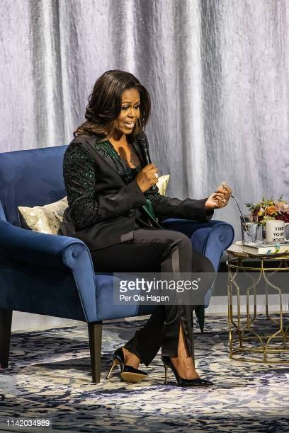 Michelle Obama held a conversation with Phoebe Robinson about her book Becoming at Oslo Spektrum on April 11 2019 in Oslo Norway