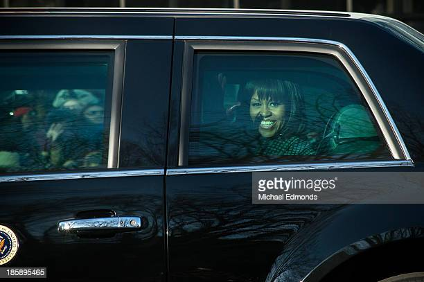 Michelle Obama in the limo carrying her to and from the Presidential Inaugural speech.