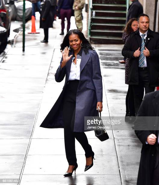 Michelle Obama leaves Upland restaurant on March 10 2017 in New York City