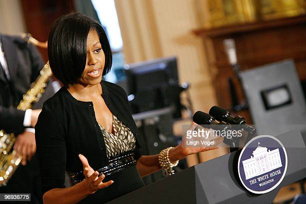 Michelle Obama speaks at the Governors Ball talent preview at the White House on February 21, 2010 in Washington, DC.