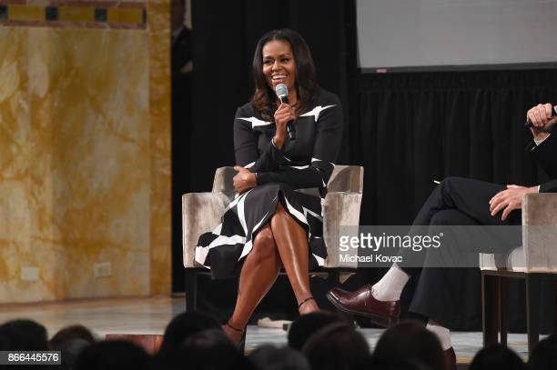 Michelle Obama speaks onstage as The Streicker Center hosts a Special Evening with Former First Lady Michelle Obama at The Streicker Center on...