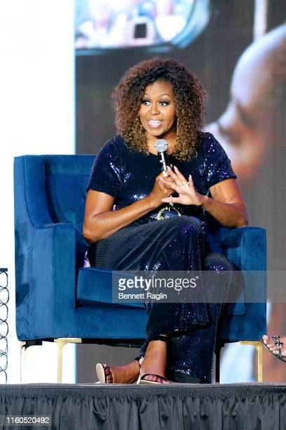Michelle Obama speaks onstage during the 2019 ESSENCE Festival Presented By CocaCola at Louisiana Superdome on July 06 2019 in New Orleans Louisiana