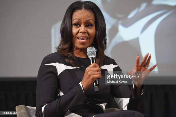 Michelle Obama speaks onstage The Streicker Center hosts a Special Evening with Former First Lady Michelle Obama at The Streicker Center on October...