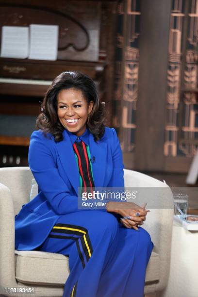 Michelle Obama visits BookTube at YouTube Space Austin on February 28 2019 in Austin Texas