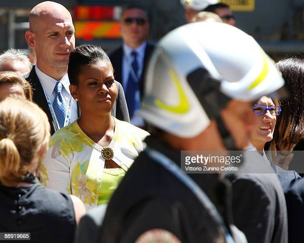 L'AQUILA ITALY JULY 9 Michelle Obama visits the 'Palazzo del Governo' of L'Aquila on July 9 2009 in L'Aquila Italy World leaders attending the G8...