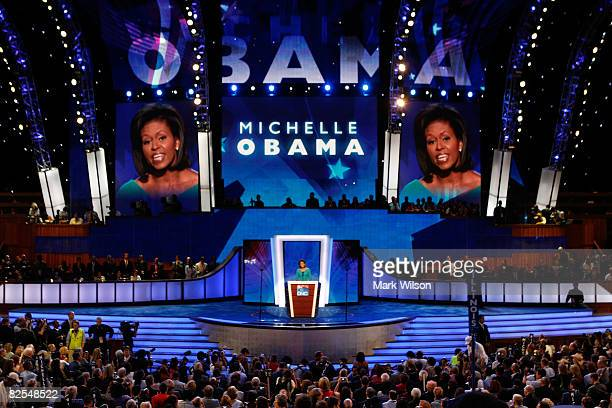 Michelle Obama wife of presumptive Democratic nominee US Sen Barack Obama speaks during day one of the Democratic National Convention at the Pepsi...