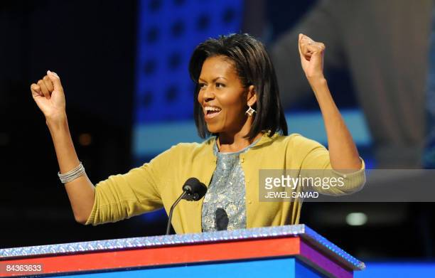 Michelle Obama wife of US Presidentelect Barack Obama delivers a speech at the ''Kids inaugural We Are The Future' concert honouring military...
