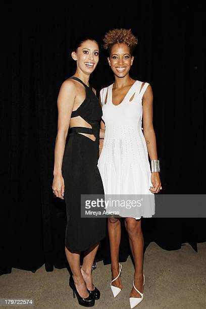Michelle Ochs and Carly Cushnie backstage at the Cushnie Et Ochs fashion show during MADE Fashion Week Spring 2014 at Milk Studios on September 6...