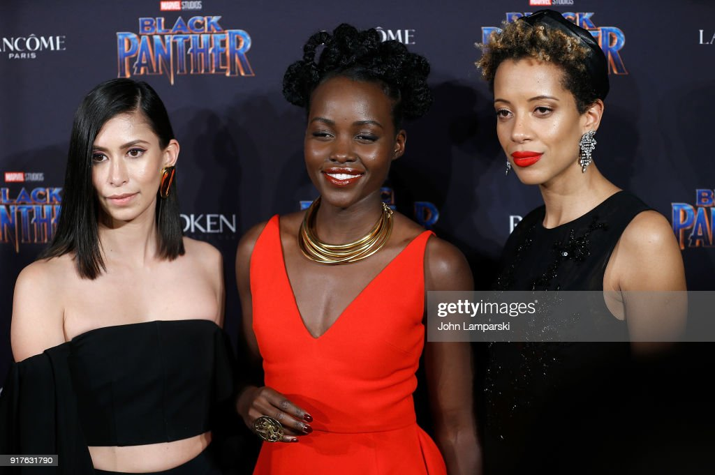 Michelle Ochs, Lupita Nyong'o and Carly Cushine attend Marvel Studios Presents: Black Panther Welcome To Wakanda during February 2018 New York Fashion Week: The Shows at Industria Studios on February 12, 2018 in New York City.