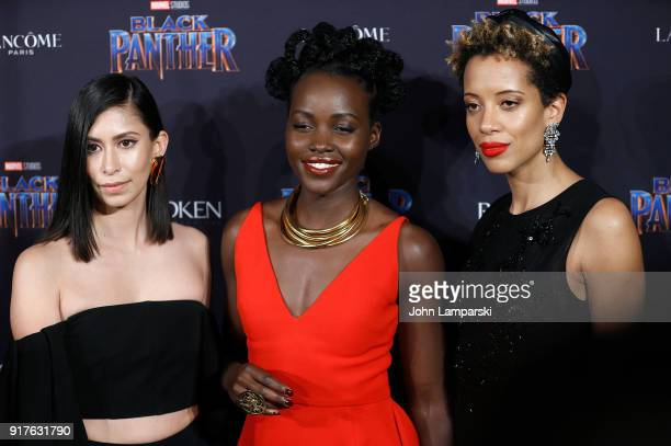 Michelle Ochs Lupita Nyong'o and Carly Cushine attend Marvel Studios Presents Black Panther Welcome To Wakanda during February 2018 New York Fashion...