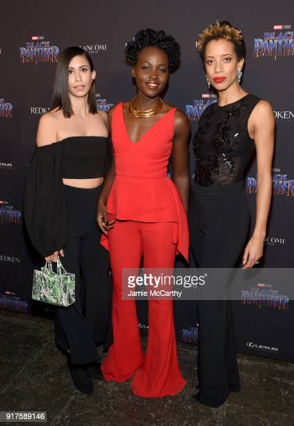 Michelle Ochs Lupita Nyong'o and Carly Cushnie attend the Marvel Studios Black Panther Welcome to Wakanda New York Fashion Week Showcase at Industria...