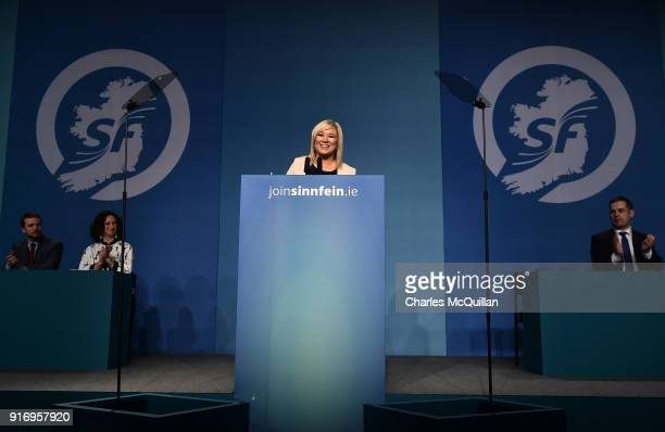 Michelle O'Neill addresses delgates and the media after being elected as the new vice President of Sinn Fein at the party's Ard Fheis at the RDS on...