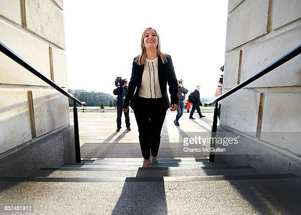 Michelle O'Neill is unveiled as the new Sinn Fein leader in the north at a Stormont announcement press conference on January 23, 2017 in Belfast,...