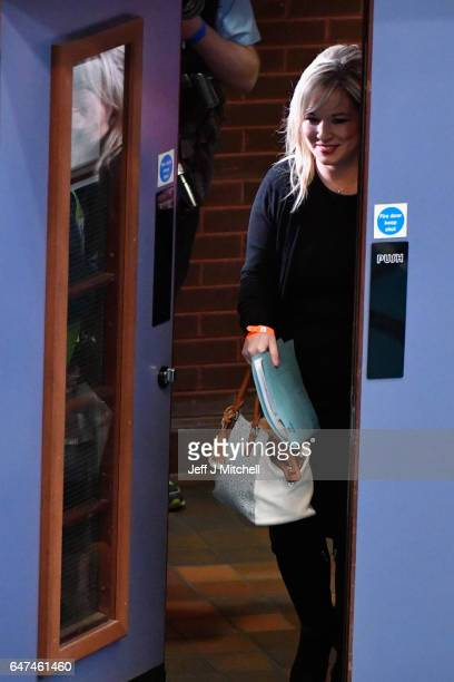 Michelle O'Neill leader of Sinn Fein in Northern Ireland arrives at the Seven Towers Leisure Centre for the North Antrim and Mid Ulster count in the...