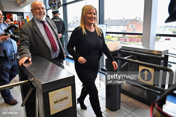 Michelle O'Neill leader of Sinn Fein in Northern Ireland arrives followed by Francie Molloy at the Seven Towers Leisure Centre for the North Antrim...