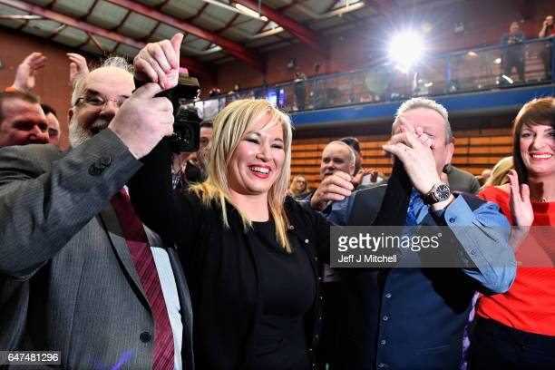 Michelle O'Neill leader of Sinn Fein in Northern Ireland celebrates winning her seat for Mid Ulster while surrounded by Francie Molloy and Ian Milne...
