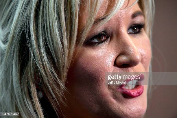 Michelle O'Neill leader of Sinn Fein in Northern Ireland gives an interview following winning her seat for Mid Ulster at the Seven Towers Leisure...